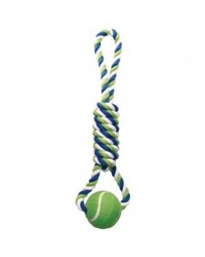 Dogit cuerda azul/lima/blan con lazo/ pelotas te