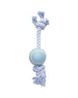 Dogit cuerda de algodón azul con pelota