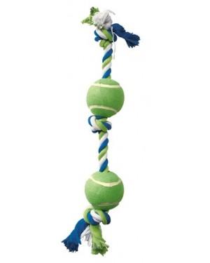 Dogit cuerda  azul/lima/blan nudo y 2 pelotas