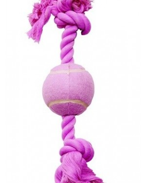Dogit cuerda de algodón rosa con pelota